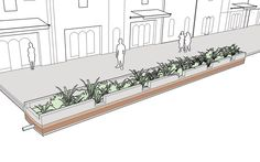Pervious Strips explained and illustrated in the NACTO Urban Street Design… Map Design, Layout Design, Urban Landscape, Landscape Design, Urban Intervention, City Sketch, Water Management, Urban Planning, Urban Design