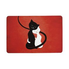 Red Hugging Love Cats Floor Mat ($37) ❤ liked on Polyvore featuring home, home decor, wall art, cat, red wall art, red home decor, cat wall art, comic book wall art and textured wall art