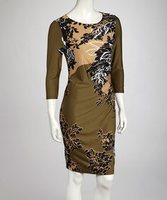 Take a look at this Olive Forest Three-Quarter Sleeve Dress by AA Studio on #zulily today!$21.99, regular 49.00