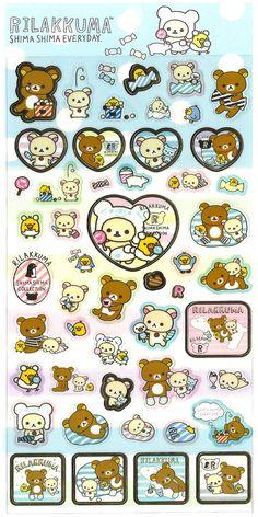 San-x Rilakkuma Shima Shima Heart Sticker Sheet