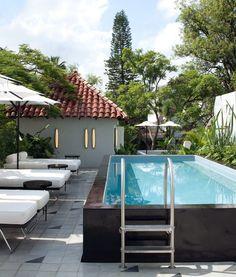 White bolster #cushions on pool #daybeds at Casa Fayette, Guadalajara, Mexico https://www.designhotels.com/hotels/mexico/guadalajara/casa-fayette?login=b8b8e3dcc296d02195fffa23bd071f3f Design Hotels