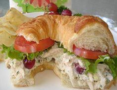 Chicken Salad~ recipe.  Serve on croissant.Secret ingredients are lemon and tarragon::
