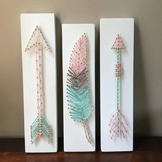 Set of 3 Wall Art  2 Arrows and 1 Feather Nursery Sign