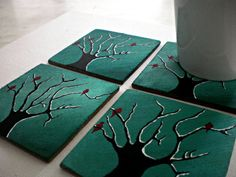 Wooden handpainted coasters by JuliasHandandHeart on Etsy