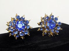 SOLD - Coro Sapphire Rhinestone Earrings - Spiky and  Spectacular, ca. 1950s by AgeofPlastic