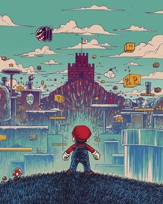 pixalry: Level Headed Mario - Created by Barry Blankenship Super Mario Games, Super Mario Art, Super Mario World, Pixel Art, Super Mario Kunst, Classic Video Games, Retro Video Games, Mario And Luigi, Gaming Wallpapers
