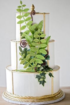 wedding cakes fall theme | White 3-Layer Cake with Green Fondant Leaves