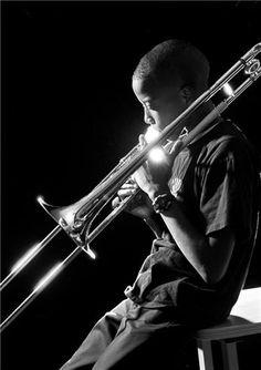 Troy Trombone Shorty Andrews, New Orleans, La, 1999 by HERMAN LEONARD