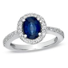 Oval Blue Sapphire and 1/2 CT. T.W. Diamond Frame Ring in 14K White Gold - View All Rings - Zales