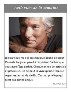 Photo Richard Gere, French Quotes, Positive Attitude, Carpe Diem, I Am Happy, Beautiful Words, Sentences, Einstein, Affirmations