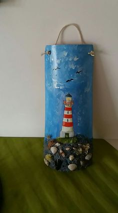 Easter Bingo, Lighthouse Painting, Bottles And Jars, Dollhouse Miniatures, Ladder Decor, Decoupage, Diy And Crafts, Crafty, Wall Art