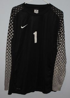 6d22ed57b55 MENS NIKE PADDED ELBOW DRYFIT SOCCER GOALIE SHIRT LARGE BLACK NUMBER 1  #Nike Nike Soccer