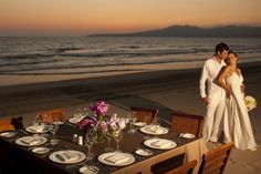 Grand Velas Riviera Nayarit in Puerto Vallarta, Mexico. - Ultimate wedding destination. Experience a luxurious dinner on the beach with your loved one.