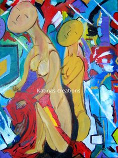 from girl to woman  acrylic on board  self taught artist Katina Cote/in Maine