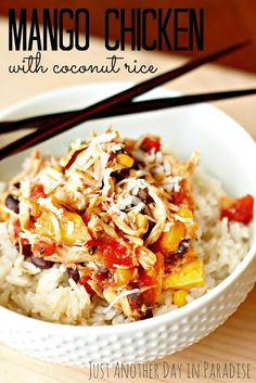 Just Another Day in Paradise: Slow Cooker Saturday: Mango Chicken with Coconut Rice