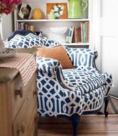 a nook with some personality.  revive an antique with a modern print fabric. Love the imperial trellis from Kelly Wearstler.