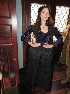 Mary Sibley at home look, season 1.  Deep purple silk velvet bodice with a winter quilted black silk skirt.