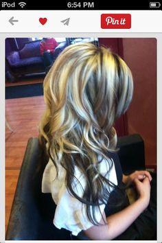 Hair blond dark brown highlights with dark brown underneath....... Love this