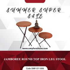 Product URL: JAMBOREE ROUND TOP IRON LEG STOOL  Product Code - OMF-ST-1006  Product URL:  https://www.omyfurniture.com/jamboree-round-top-iron-leg-stool-omf-st-1006  Jamboree round top iron leg wooden stool is made by mango wood and iron. Top section made by mango wood with Teak finish and bottom stand or legs are made by powder coated iron.   Call Us: +91 9001470833, 7627045945 #furniture #cabinet #diningtable #bed #drawer #bookselves #chairs