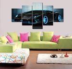 Lamborghini Canvas Art, Sports Car 5 Piece Canvas Art, Sports Car Wall Decor, Lamborghini Wall Poster Framed