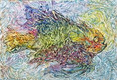 """2011 - Sunfish Bliss  © Col Mitchell  5""""x 7"""" x 1.5""""  Manipulated paper, fluid acrylics and inks on canvas  Private Collection www.colmitchell.com #fish #paper #paperart #paperartist"""