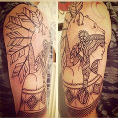 ink by sara bolen of bear headdress girl | Tattoos - Ladies | Pintere ...