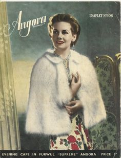 Angora 108 - ladies angora cape - vintage knitting pattern
