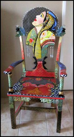 Looking to the future, chair by Lauretta Lowell, www. - Looking to the future, chair by Lauretta Lowell, www. Art Furniture, Furniture Painting Techniques, Unusual Furniture, Funky Furniture, Colorful Furniture, Upcycled Furniture, Furniture Makeover, Furniture Design, Decoupage Furniture