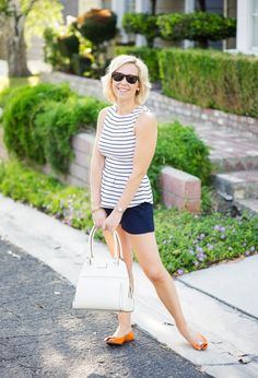 Striped peplum with navy shorts Kacee from Life with Lipstick On