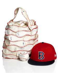 balls, ball sack, baseball jersey tote, handbag tote, red hats