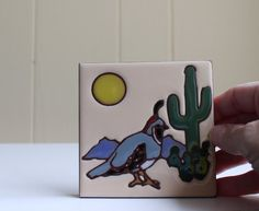 Handpainted ceramic tile by Earthtones Quail by by StillVintage