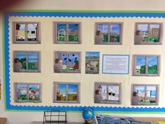 Our beautiful collages based on the book 'Window' by Jeannie Baker. Looks very bright and cheery in our classroom! Love it!