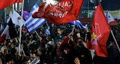 Supporters of radical leftist Syriza party