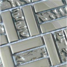 Metal coating glass tiles grey kitchen backsplash tile& bath wall tile crystal mosaic