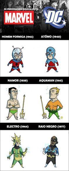 23 personagens equivalentes da DC e da Marvel! (1 de 2), via failwars;
