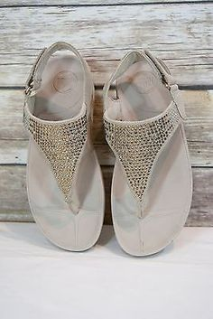 Fitflop Flare Womens Pebble Rhinestone Suede Slingback Thong Sandals Shoes SZ 7