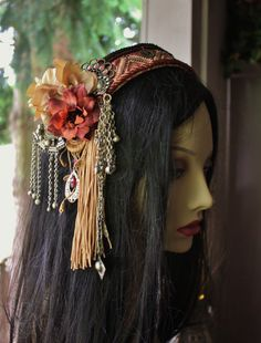 Tribal Fusion Headpiece- Rose Glow- Burning Man, Festival, Belly Dance, Wedding. $90.00, via Etsy.