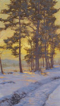 """""""Path Through the Snow Under Golden Skies"""" by Walter Launt Palmer (1854-1932) winter nature woodland art countryside light"""