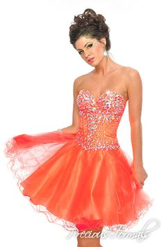 Short Orange Prom Dresses with Jewels