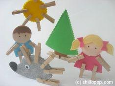 Clothespin Felt or Cardboard Toys Play Set Pattern