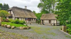Thatched roofed cottages in Denmark