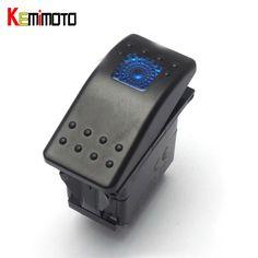 KEMiMOTO For POLARIS RZR XP 900 1000 For Arctic Cat Wildcat XTX for Kawasaki Switch Rocker Blue LED Light ATV Switch