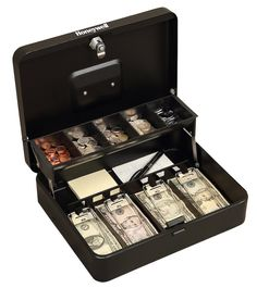 The Honeywell Tiered Cash Box is perfect for all of your cash management needs. Features a tiered coin tray for greater storage capacity underneath and includes 4 bill compartments with clips to keep bills in place. Cash Box, Money Box, Play Money, Biometric Lock, Money Envelope System, Money Safe, Digital Safe, Cash Management, Shopping