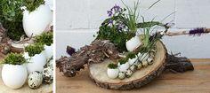 For my cloche ideas Easter Art, Easter Crafts, Corn Husk Wreath, Modern Floral Arrangements, Ikebana Flower Arrangement, Easter 2018, Rustic Centerpieces, Spring Design, Dried Flowers