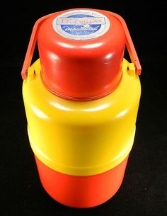 Vintage Red & Yellow Insulated Thermos with Original Label|||