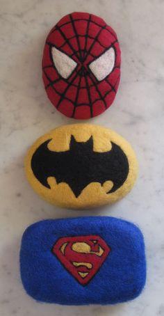 Needle felted superhero soap