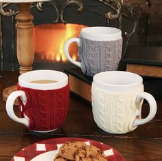 Mug sweaters/cozies - Keep your hands cool and your drink warm! Could easily be made from a sweater.