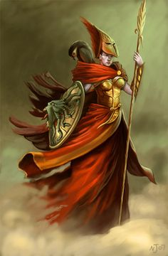 Atena - Deusa da sabedoria, guerra justa e ofícios.  Cabelo negro, olhos cinzentos, roupas casuais (exceto quando ela está se preparando para a batalha, quando veste uma armadura de combate inteira). Atena está sempre acompanhada por uma coruja, que é seu símbolo. É muito sábia e estrategista, tendo uma richa com Poseidon.