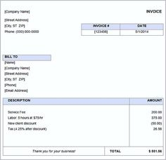 Simple Invoice Template Word  Basic Invoice Template And General