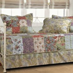 Greenland Home Fashions Greenland Home Fashions Blooming Prairie - 5 Piece Daybed Set, Multicolor, Quilt Shams Bedskirt drop cotton, Twin Sofa Daybed, Daybed Bedding, Daybed Mattress, Mattress Covers, Bedding Sets, Bed Pillows, Pillow Shams, Trundle Beds, Ideas